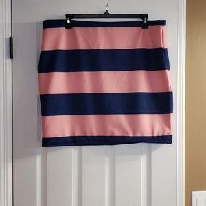 Eloquii neoprene blue & pink striped skirt sz 20